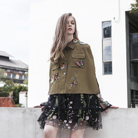 New new, autumn and winter sleeveless jacket short jacket, personalized butterfly Embroidered Flower bat coat E0714