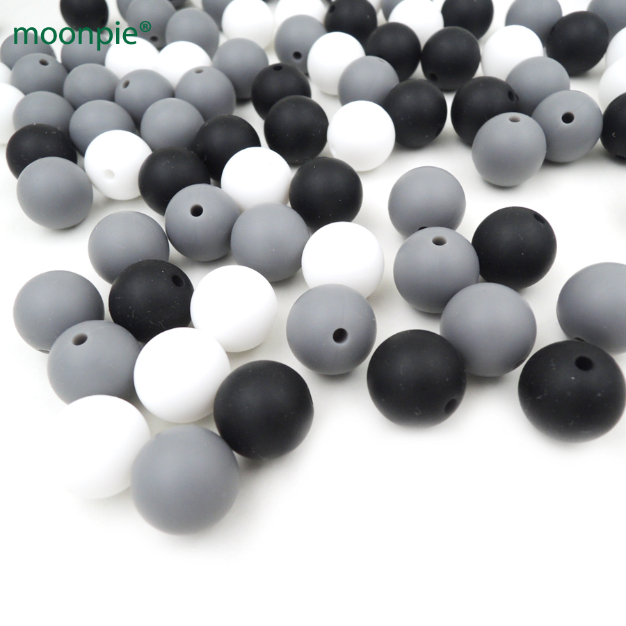 30pcs assorted classic grey black and white color round Silicone Beads 15mm Teething beads  Chewable baby toy DIY BSB16