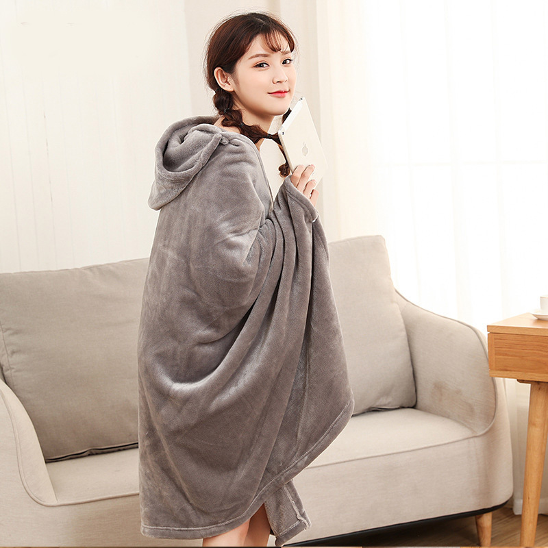 Winter Thick Comfy Hooded Plaid Blanket Sweatshirt Unicorn Warm Coats TV Hoodie Blankets Fleece Blanket Adult for Sofa Beds Kids 16