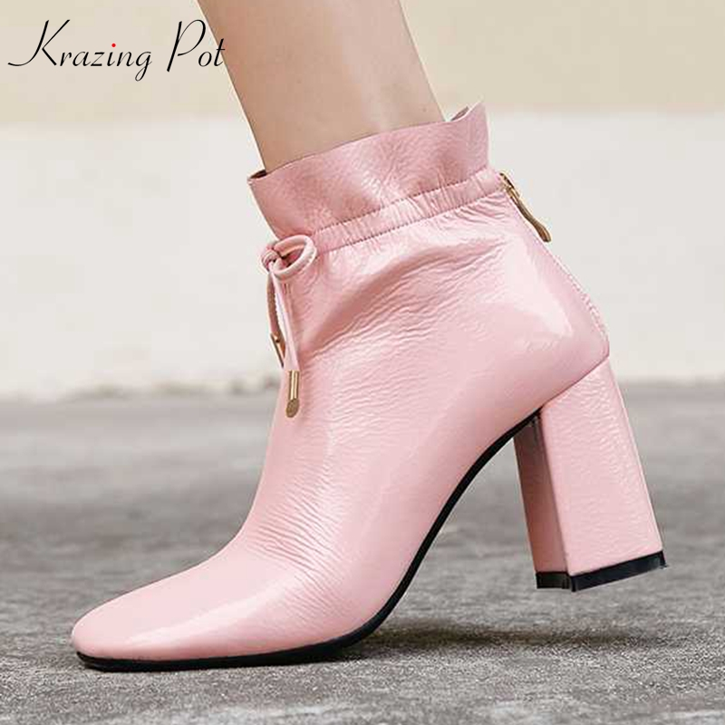 Krazing pot genuine leather round toe lacework ruffles ankle boots brand women pink color model Hollywood