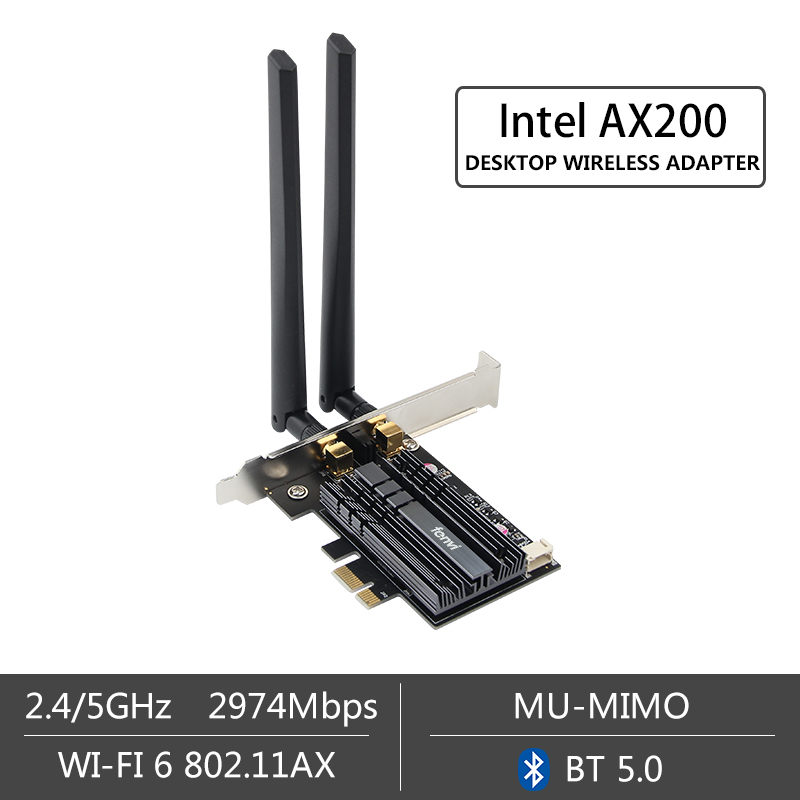 Image 3 - Dual band 2.4Gbps Wireless AX200NGW Network Wifi PCI E 1X Card For Intel AX200 2.4G/5Ghz 802.11ac/ax Wi fi Bluetooth 5.0 Adapter-in Network Cards from Computer & Office