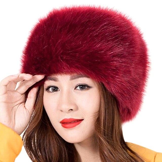 7beb30885f8 New Women Winter Warm Soft Fluffy Faux Fur Hat Russian Cossack Beanies Cap  Ladies 2018 Winter