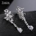 ZAKOL Sparkling Teardrop Cubic Zircon Rhinestone Clip Earrings Charms Women Dinner Jewelry For Ladies Best Accessories FSEP577