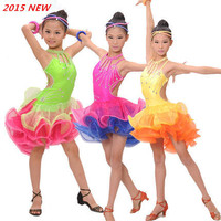 New Arrival Child Professional Latin Dance Dress Kid Sparkling Competition Show Costume Girls Latin Dress 3