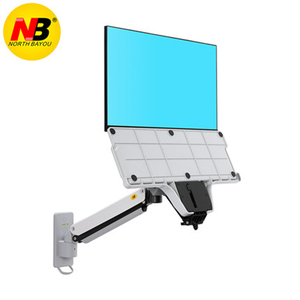 Image 4 - NB soporte de pared de aluminio MC32 para sentarse puesto de trabajo, soporte para Monitor de 22 32 pulgadas, brazo puntal de Gas con bandeja para teclado, soporte LCD giratorio