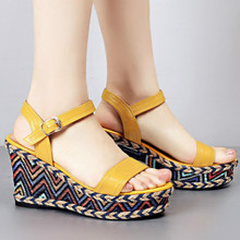 цена на Womens Genuine Leather Wedge Sandals Summer Parties Shoes Elevated Wedge Open Toe Sandals Black Beige Yellow Bohemia Trend