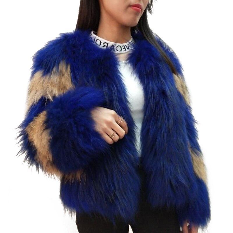 Осенне зимняя обувь новые белые косу волосы пальто вся кожа в длинный абзац Настоящее енотовидная собака пальто с мехом