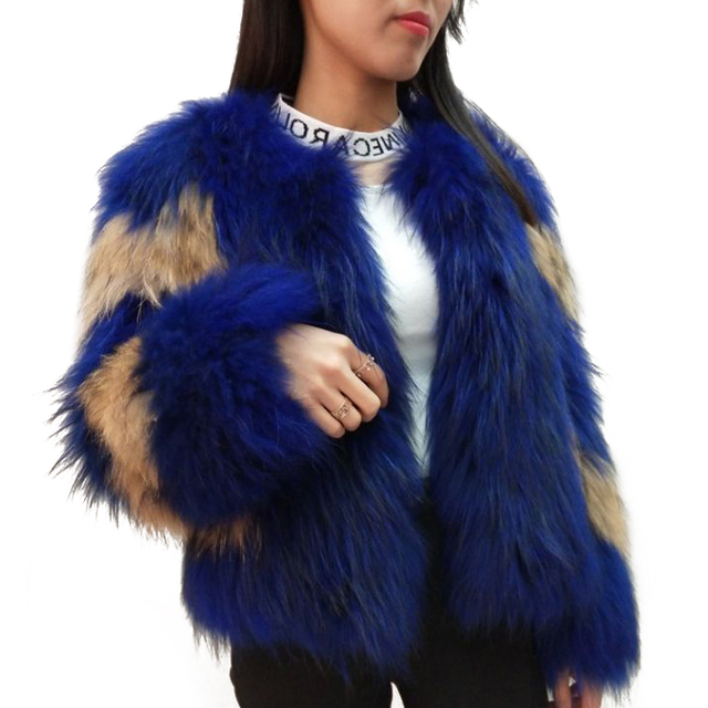 Autumn and winter new white braid hair coat female whole skin in the long paragraph Real raccoon dog fur coat