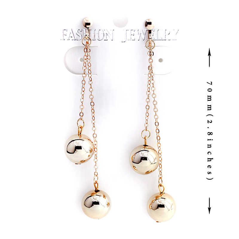Gold color Ball Clip Earrings Without Piercing Metal Long Tassel Earrings No Hole Ear Clip Simple Women Earring Jewelry CE182