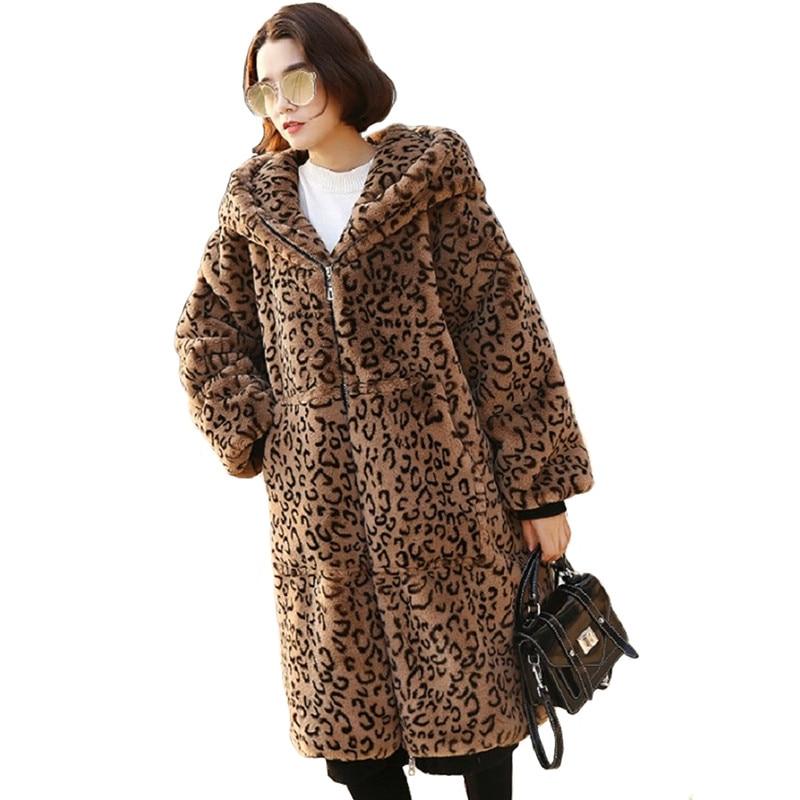 13b63a8f908 Leopard Fur Coat Women 2019 Autumn Winter Thick Warm Rabbit plush Jackets  Plus size Female Hooded Tops Long Faux Fur Coats A2357-in Faux Fur from  Women s ...