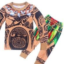 be6a3a86381bf Cartoon Moana Vaiana Maui ensembles pour garçon fille pyjamas vêtements  printemps sommeil Costume enfant t-
