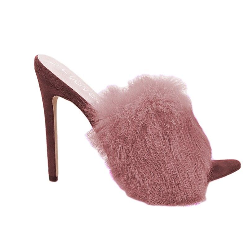 HTB12Iiwa.jrK1RkHFNRq6ySvpXaJ 2019 New European Station Sandals Candy Color Luxury Rabbit Fur Slippers Large Women Shoes Size 35-43 High Heel Sandals