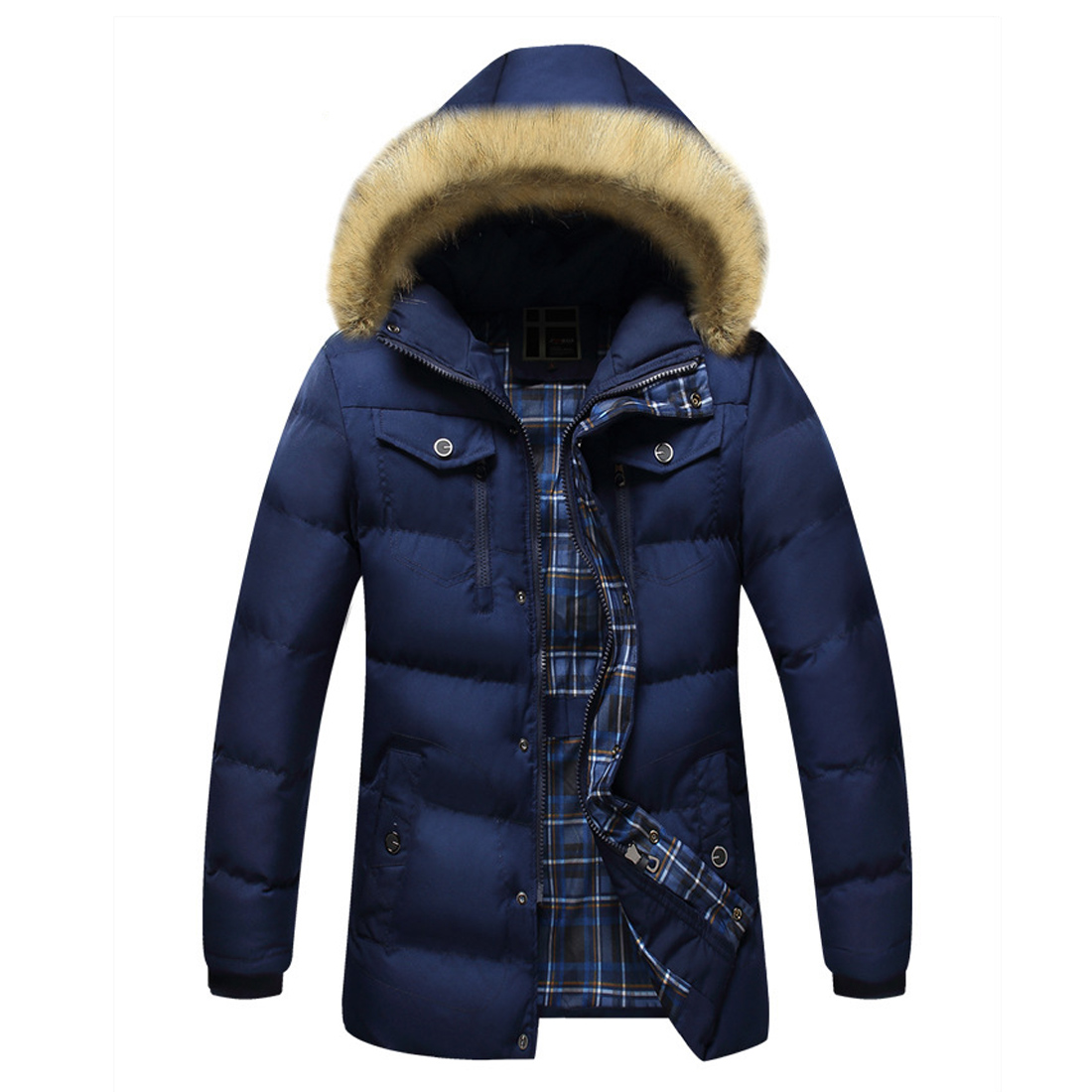 2017 Men Down Jacket Winter Warm Collar Fur Trim Hood Coat Outwear Puffer Down Cotton Long Jacket Clothes Thick Canada Cheap Top 2017 men down jacket winter warm collar fur trim hood coat outwear puffer down cotton long jacket clothes thick canada cheap