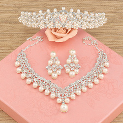 The bride hair accessory three pieces set wedding accessories hair accessory necklace earrings marriage accessories.jpg 250x250
