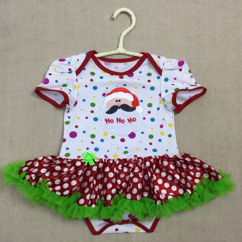 Santa Claus Baby Onesie tutu skirt Multi Color Polka dots Baby Romper ,Christmas Baby Tutu Dress , Baby romper With bow
