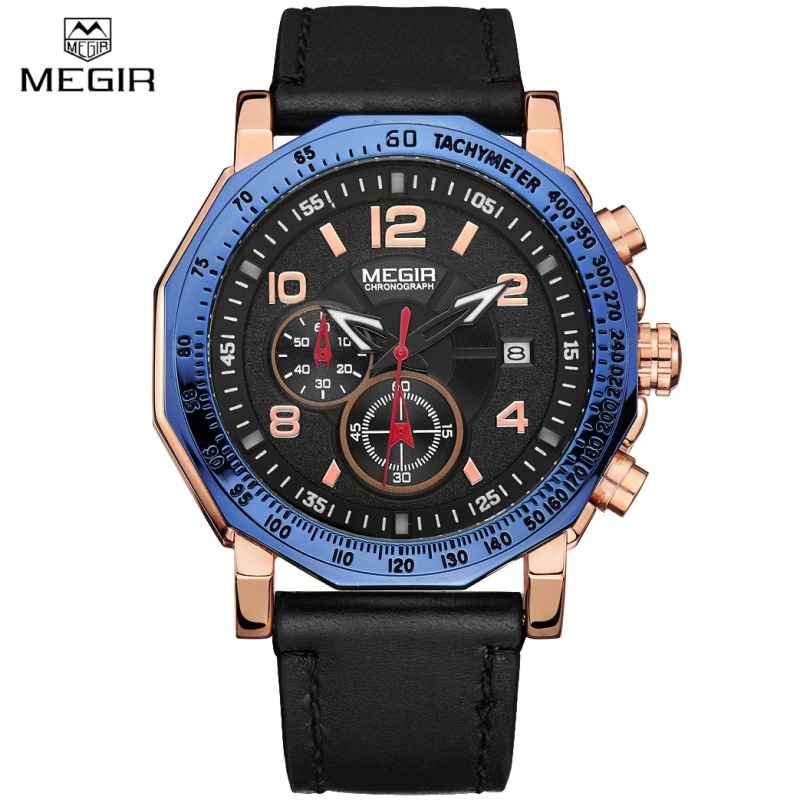 цена на MEGIR Luxury Brand Military Watches Men Quartz Chronograph Leather Casual Clock Man Sports Army Wrist Watch Relogios Masculino
