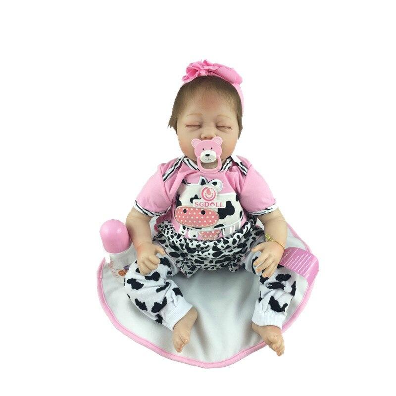 Kawaii 55cm/22 Lifelike Sleeping Newborn Infant Reborn Dolls Silicone Vinyl Handmade Pink Baby Toy Gift Collection kawaii baby dolls