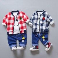 Одежда для малышей мальчиков комплект одежды верхняя одежда + футболки + джинсовые брюки Бейсбол спортивные костюмы для малышей набор одежд...