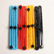 4 Colors Multifunctional Four Folding Plastic Ruler Metric Scale Practical Measuring Angle Ruler with Durablity and Flexibility