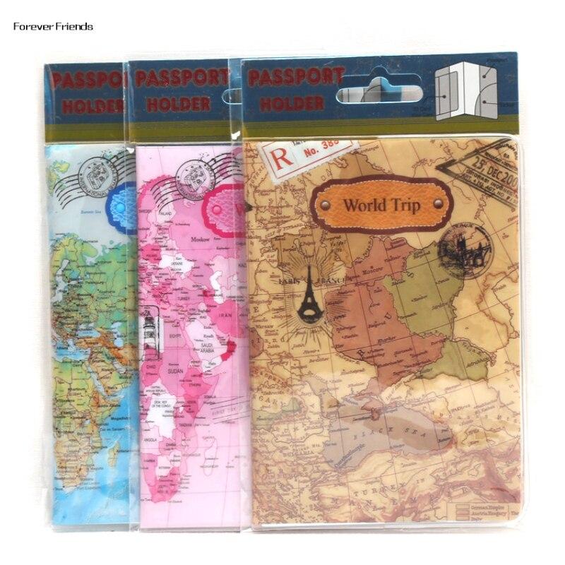 Europe Cartoon Style 2D Passport Holder PVC  Passport Cover Case For Travel,14*9.6cm Card & ID Holders Mini Order 1pcs-map