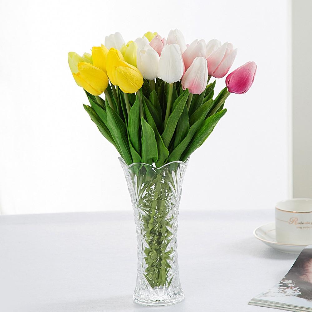 Acheter S 20 pcs Artificielle Tulipes Faux Fleurs Par Decora O Mini Tulipe pour La Maison De Mariage Décoration PU Flores Artificiales Pas Cher fleur de Artificielle et Fleurs Séchées fiable fournisseurs