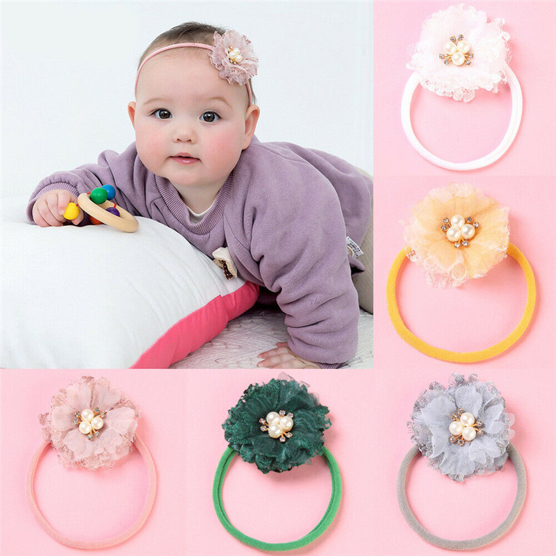 2019 Cute 1PC Elastic Rope Infant Baby Girls Floral Pearl Headbands Ties Holder Hairbands Fancy Hair Accessories защитный детский шлем