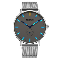 NEDSS tritium DW styles mens watches top brand luxury Men Sports Watch mesh band steel fashion Watches Chronograph couple watch
