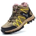 Gran tamaño de los hombres de moda puntera de acero de seguridad de trabajo de piel caliente zapatos de senderismo escalada de herramientas invierno nieve botines de cuero suave masculina