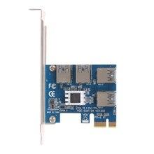 Pci-e PCI Express внешний Riser Card PCIe 1 до 4 USB3.0 1x до 4 порта 16x адаптер ж/ IC Радиатор для Bitcoin горной машины