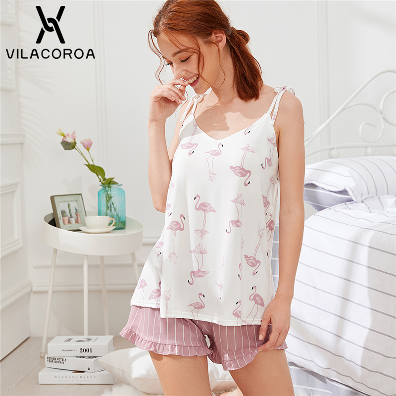 Vilacoroa Flamingo Print Cami Top and Striped Shorts PJ   Sets   Summer Spaghetti Strap Sleeveless Frill Women Pink Nightwear