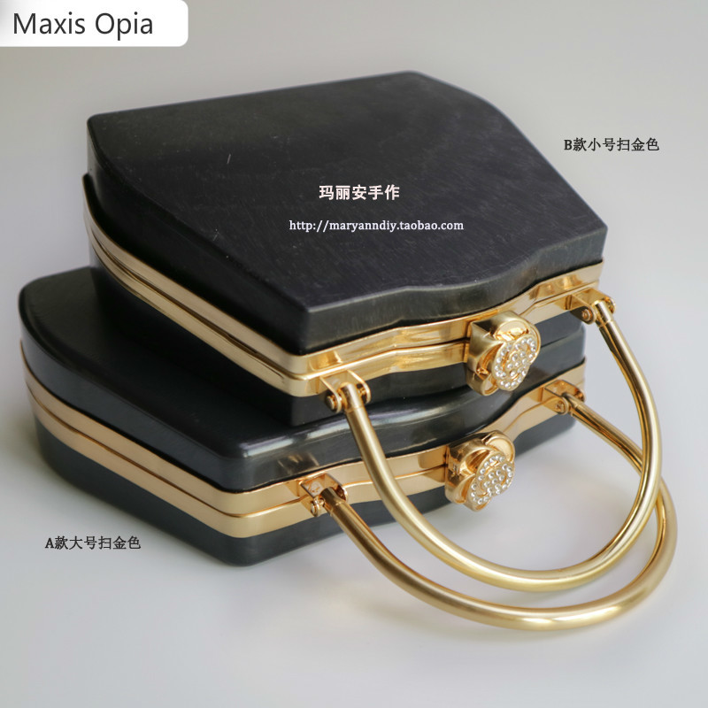 Two Sizes Metal Clasps For Purses Purse Frame With Black Plastic Box Obag Handle Sac A Bandouliere Obag Handle Drop Shopping