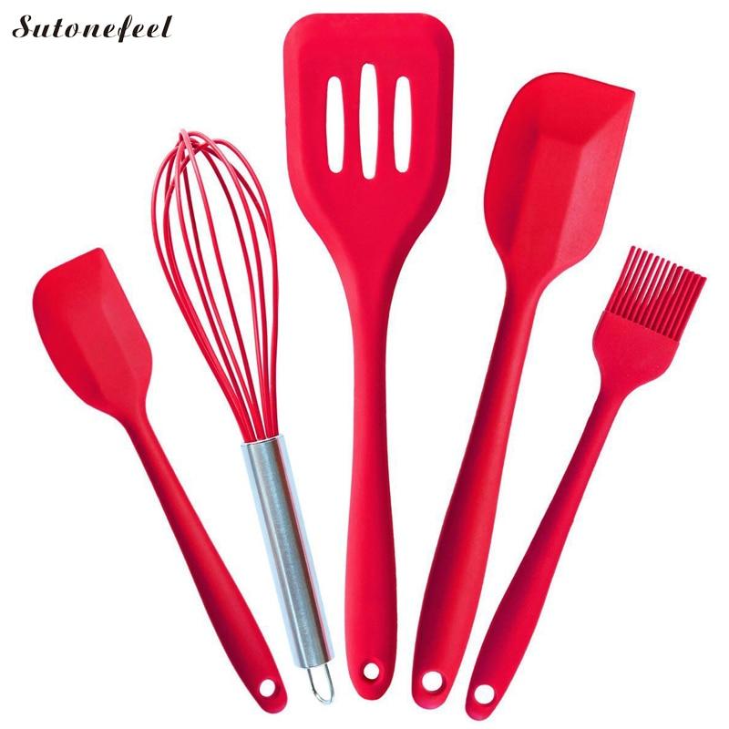 5PCS Silicone Utensil Set Non-Stick FDA Silicone Cooking Utensils Spatula Set Spaghetti Server Slotted Turner Cooking Tools