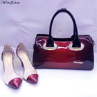 WENZHAN Women's High Heels Bright Shining Wine Color Pointed Toe Nice Shoes Matching Women Handbag Top Quality Hot Selling A87-2