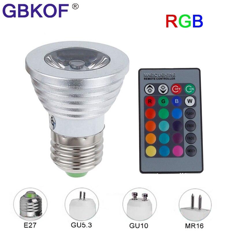 E27 E14 GU10 MR16 3W spotlight RGB lamp led 12V dimmable light spot bulb bombilla with 24keys Remote control Spotlight Colorful