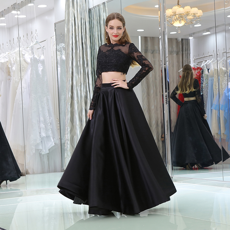 Black Color Prom Dress Sexy Two Piece Long Sleeves Lace Evening