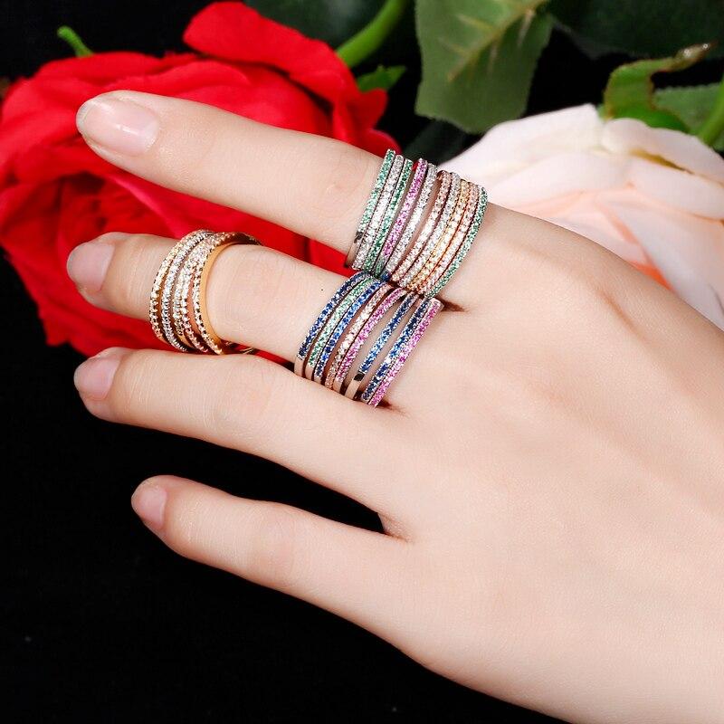 CWWZircons blagovna znamka moda 3 kos Engegament poročni prstan set - Modni nakit - Fotografija 5