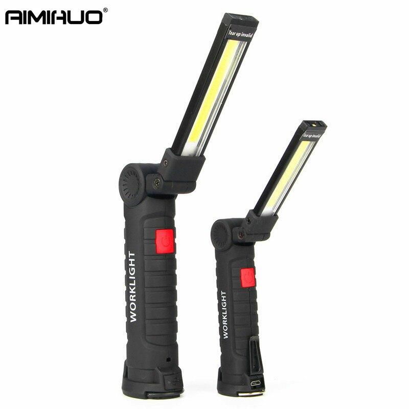 AIMIHUO LED lampe de Poche USB Rechargeable Led Travail Lumière Lanterne Lampe Suspendue Crochet Camping En Plein Air Torche COB lampe de Poche Lanterna