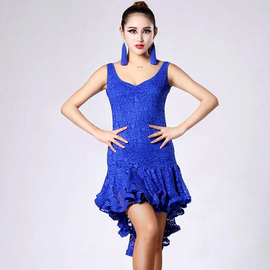 2018 New Latin Dance Dress Lace Sexy Dress Cha Cha Dance Dress Women Ballroom Rumba Dresses