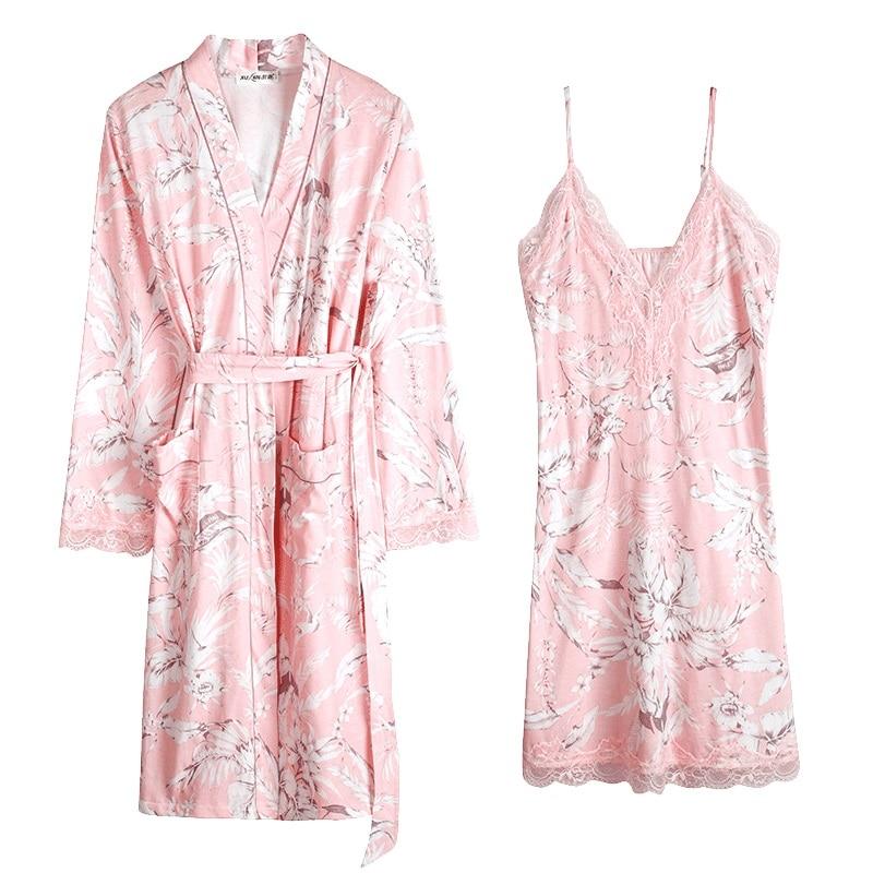 2019 Women sexy lace pure cotton robe gown set sleep dress bathrobe two piece print robe