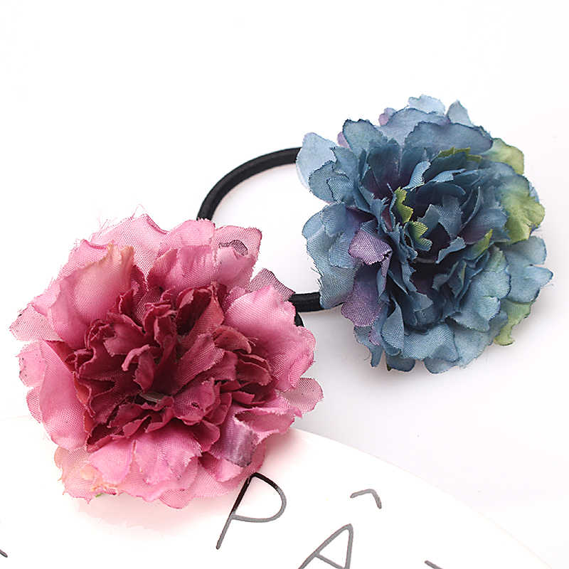 M MISM Korean Simulated Flower Elastic Rope Gum for Woman Hair Accessories Girls Scrunchy Rubber Bands Party Ponytail Holder