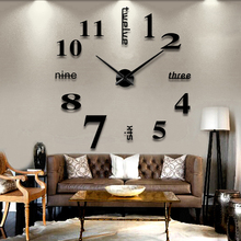 3D Wall Clock Mirror Wall Stickers Removable 4 Color Self-Adhesive Art Decal Wall Clocks Home Decor Living Room Quartz Needle