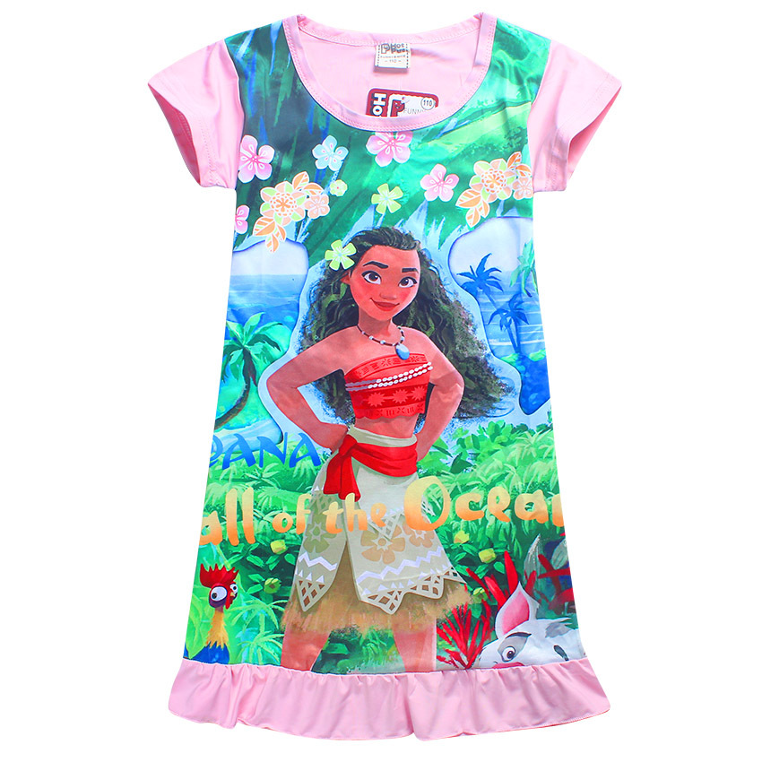Children Dress For Girls Moana Clothing Print Dress Cute Design Short Sleeve Causal Dress For 3-9 Years Old Pretty Children Girl hello bobo girls dress collection of sports in the new year is suitable for 2 to 6 years old children s clothing