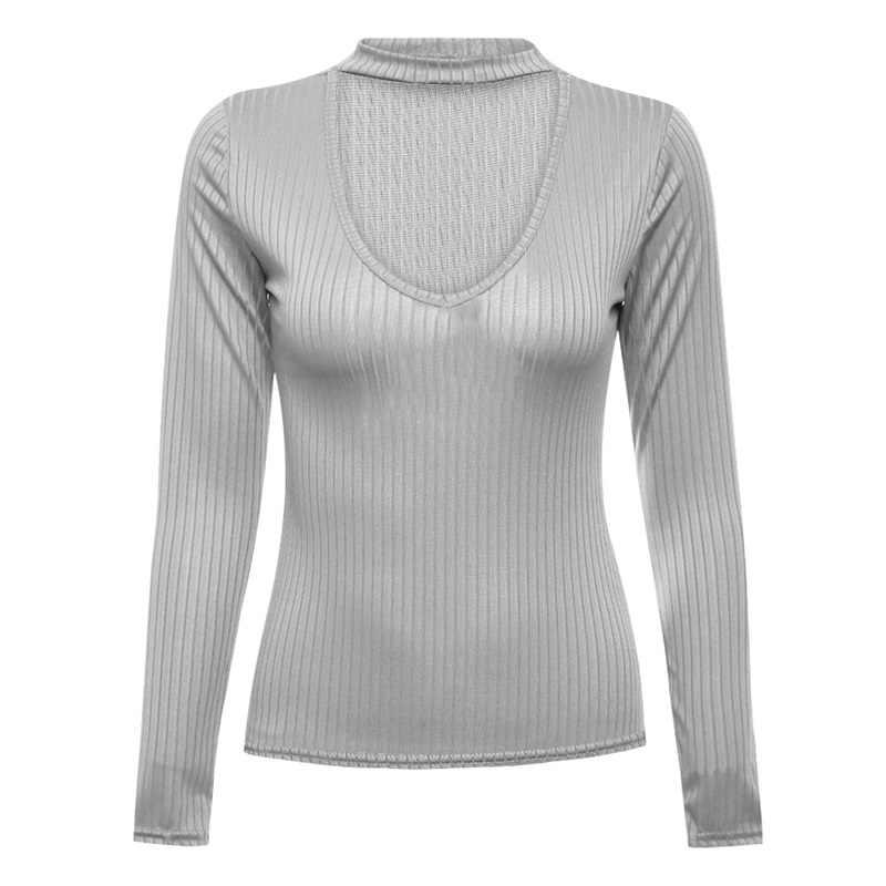 Autumn Winter Black Halter Women Knitted Sweater White Sexy Pullover Women Tops Slim V Neck Long Sleeve Chic Jumper Pull Femme