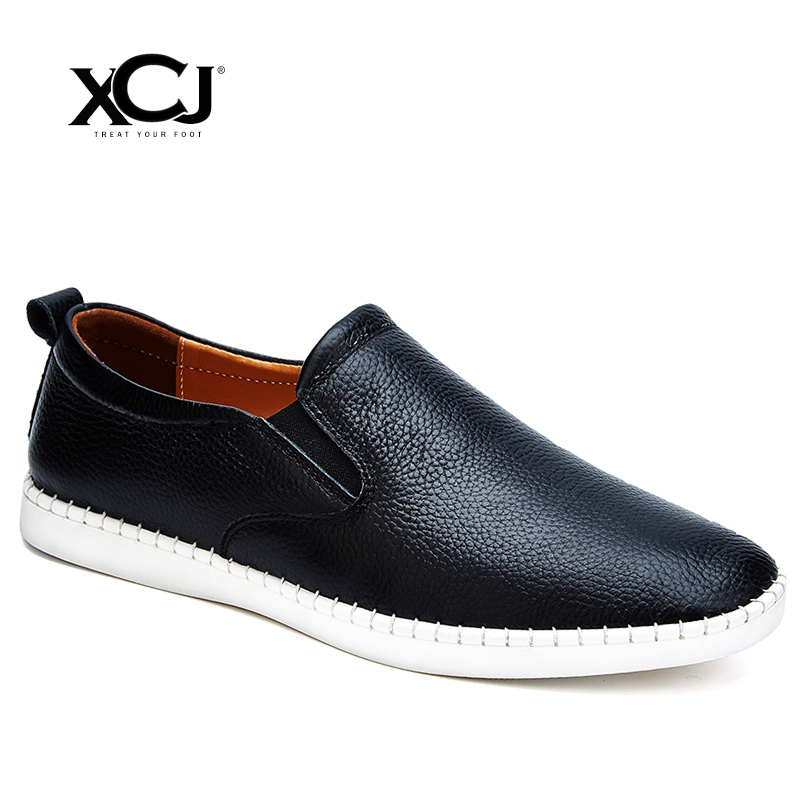 Men Casual Shoes Spring Autumn Brand Men Shoes Men Sneakers High Quality Genuine Split Leather Plus Big Size Flats Slip On XCJ yierfa fashion men shoes summer autumn split leather lightweight brand breathable casual shoes flats zapatos plus size 38 48