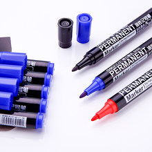 Juego de rotuladores permanentes, 3 uds., color negro, azul y rojo, resistente al agua, tinta de aceite en papel de tela CD, metal, cerámica, madera, oficina, escuela, A6842