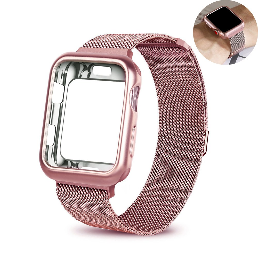 2 in 1 Milanese Mesh Stainless Steel Watch Band for Apple Watch iWatch Series 1 2 3 Magnetic Buckle Strap + Soft TPU Watch Case цена