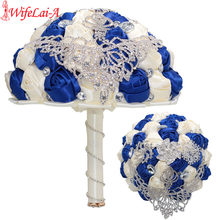 Wifelai-(24 Cm Diameter) bridal Crystal Pernikahan Buket Sutra Rose Bros Bunga Royal Blue Ivory, Terima Kustom W288(China)