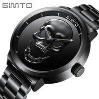Punk Creative Skull Black Men Watches GIMTO Stylish Waterproof Stainless Steel Casual Quartz Sport Wristwatch for Men Retro Gift