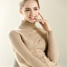 Fashion Casual Long Sleeve Turtleneck Twist Knitted Pure Cashmere Sweater Women Winter Spring Women Sweaters And Pullovers