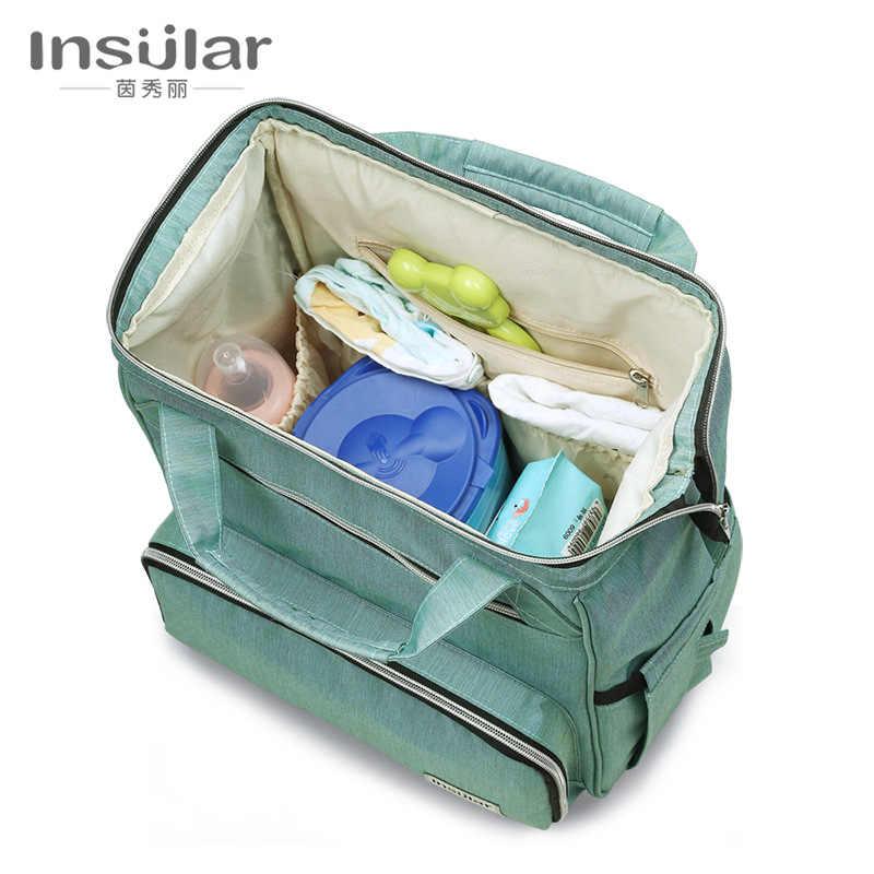 Bolsa de pañales Insular para mamá, bolsa de pañales de maternidad para cochecito de bebé, mochila de viaje de gran capacidad, bolsa de lactancia para el cuidado del bebé
